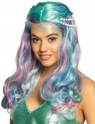 Pastellfarbene Meerjungfrauen-Perücke für Damen Langhaar-Perücke bunt