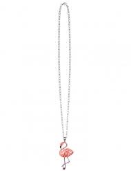 Tropische Flamingo-Halskette Accessoire für Fasching rosa-silberfarben