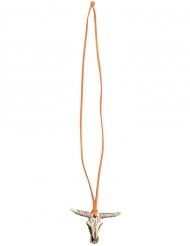 Cowboy-Halskette mit Büffel-Anhänger Accessoire braun-beige