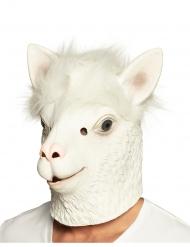 Lama-Vollgesichtsmaske für Erwachsene Latexmaske weiss