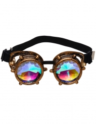 Prisma Steampunk-Brille Accessoire für Fasching braun-bunt