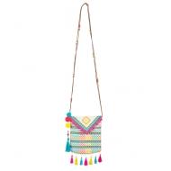 Stilvolle Lama-Handtasche mit Pompons Umhängetasche bunt