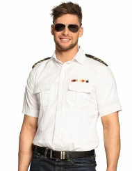Kapitäns-Hemd Kostüm-Zubehör für Karneval weiss-schwarz-gold