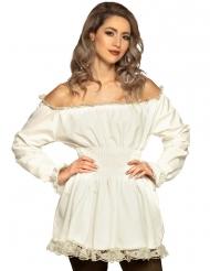 Renaissance-Rüschenkleid Damenkostüm für Fasching weiss