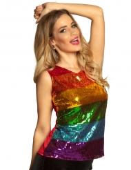 Party-Top Regenbogen-Shirt mit Pailletten Kostümzubehör für Damen bunt