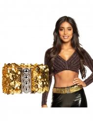 Stilvoller Hüftgürtel Glitzer-Accessoire für Damen gold-silber