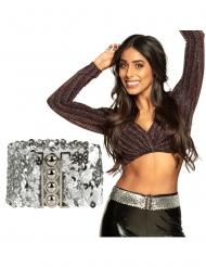 Disco Glitzer-Gürtel für Damen Kostüm-Accessoire silberfarben