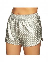 Disco-Shorts für Damen sexy Kostüm-Zubehör silberfarben