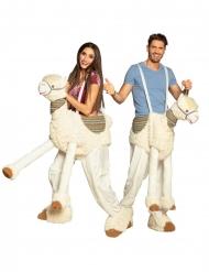 Lama Carry Me-Kostüm für Erwachsene Faschingskostüm beige
