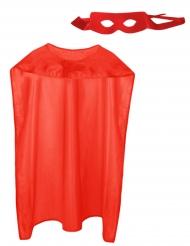 Superhelden-Set Umhang & Augenmaske für Erwachsene 2-teilig rot