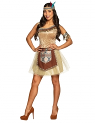 Sexy Indianerin Damenkostüm für Karneval braun-beige-türkis