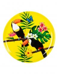 Tukan-Servierplatte Partydeko rund gelb 34,5 cm