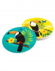 Tukan-Glasuntersetzer Partydeko 6 Stück bunt 10 cm