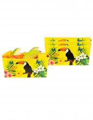 Tukan-Snackbox Tischdeko 4 Stück gelb 7x7x14 cm