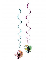 Tukan-Spiraldeko Sommerparty Deko 2 Stück bunt 85 cm