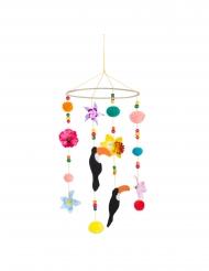 Tukan-Blumen-Mobilee mit Pompons Partydeko bunt 60x20 cm