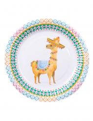 Lama-Pappteller für Festlichkeiten Partyzubehör 6 Stück bunt 23 cm