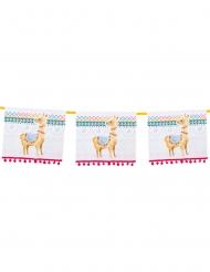 Lama-Girlande Karton Partydeko Geburtstag bunt 4 m