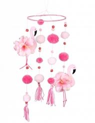 Flamingo-Mobilee mit rosa Pompoms Partydeko rosa 60x16 cm