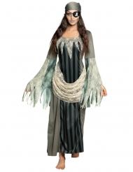 Gespenstisches Piraten-Kostüm für Damen grau-weiss-schwarz