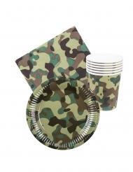 Soldaten Camouflage Geschirrset Militär 24-teilig grün