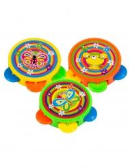 Kinder-Tamburin aus Kunststoff Piñata-Spielzeug 3 Stück bunt 4,5 cm