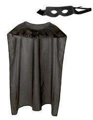Superhelden-Accessoire-Set Maske und Umhang schwarz