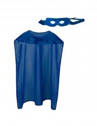 Superhelden-Set Umhang und Maske für Erwachsene blau