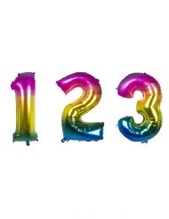 Zahlen-Luftballon Alu-Ballon 0-9 Partydeko regenbogenfarben 86 cm