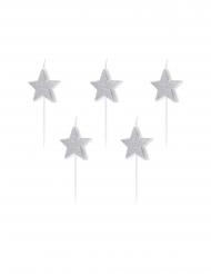 Stern-Geburtstagskerzen für Kuchen Partydeko silber 5 Stück 3,5 cm