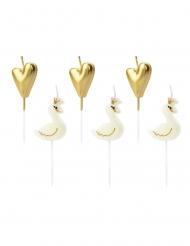 Schwan-Geburtstagskerzen Kuchendekoration 6 Stück weiss-gold 3,5-4 cm