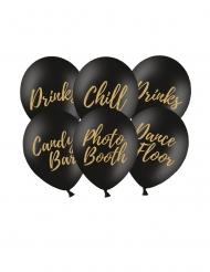 Beschriftete Luftballons Partydeko 6 Stück schwarz-gold 30 cm