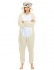 Grumpy Cat™-Overall Kostüm für Erwachsene beige-grau