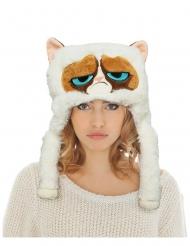 Grumpy Cat™-Kopfbedeckung Mütze für Erwachsene weiss-braun