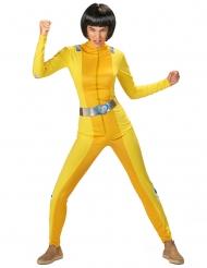 Spionage-Kostüm für Damen Faschings-Verkleidung gelb-silberfarben
