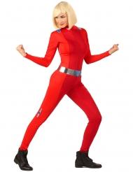 Spion-Damenkostüm für Fasching Helden-Anzug rot