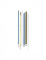 Grosse Kerzen matt Partydeko 6 Stück blau-wess-gold 15 cm