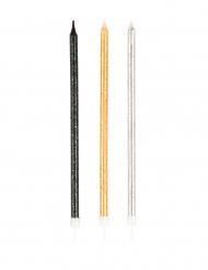 Geburtstagskerzen gross mit Halterung und Pailletten Partydeko 12 Stück schwarz-silber-gold 15 cm