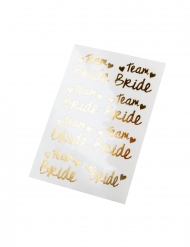 16 Klebetattoos Bride Team Zubehör für den JGA goldfarben