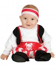 Piraten-Babykostüm für Karneval Freibeuter rot-weiss-schwarz