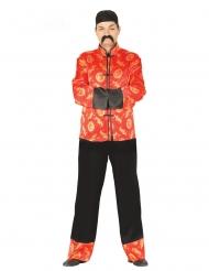 China Kimono-Kostüm für Herren Karnevals-Verkleidung rot-schwarz