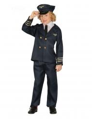 Piloten-Kostüm für Kinder Berufe & Uniform Karneval blau-goldfarben