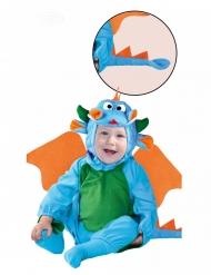 Feuerdrache-Babykostüm für Karneval Tier-Verkleidung blau-grün-orange