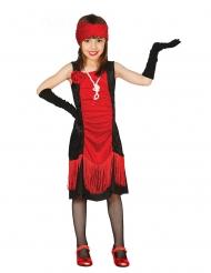 20er-Jahre Mädchenkostüm für Karneval Charleston schwarz-rot