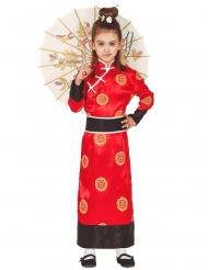 Kimono-Mädchenkostüm japanische-Verkleidung rot-schwarz-weiss
