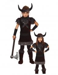 Wikinger-Kostüm für Mädchen Karnevals-Verkleidung Kinder grau-braun-schwarz