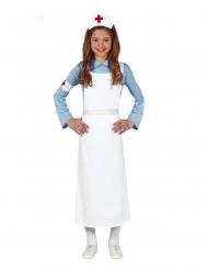 Liebevolles Krankenschwester-Kostüm für Mädchen weiss-blau