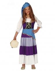 Zigeunerin Kostüm für Mädchen blau-violett-weiss