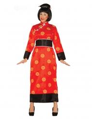 Kimono-Damenkostüm für Karneval fernöstliche-Verkleidung rot-schwarz-gelb