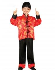 Japanisches-Kinderkostüm für Karneval Kimono-Anzug rot-schwarz-gold